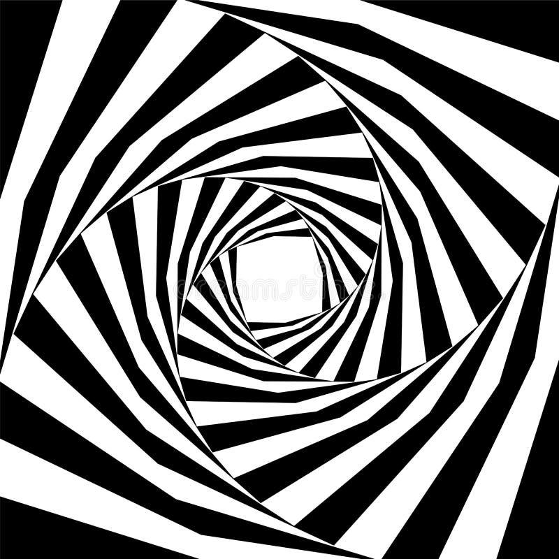 Het zwart-witte Gestreepte Schroef Uitbreiden zich van het Centrum Optische illusie van Diepte en Volume vector illustratie