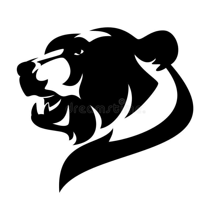 Het zwart-witte hoofd vectorontwerp van de gebrulgrizzly stock illustratie