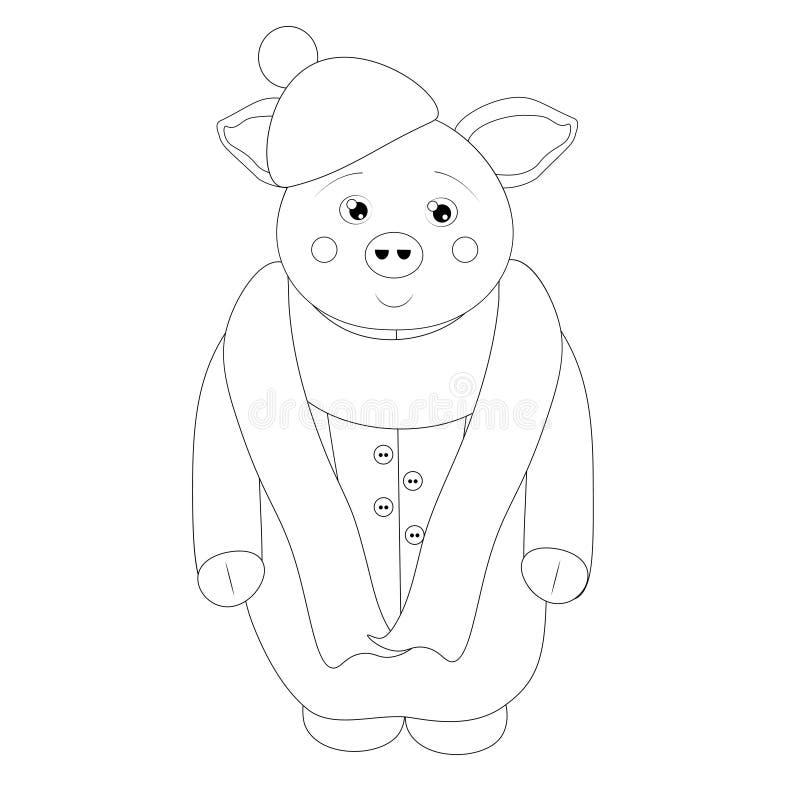 Het zwart-witte Karakter van het Varkensbeeldverhaal vector illustratie