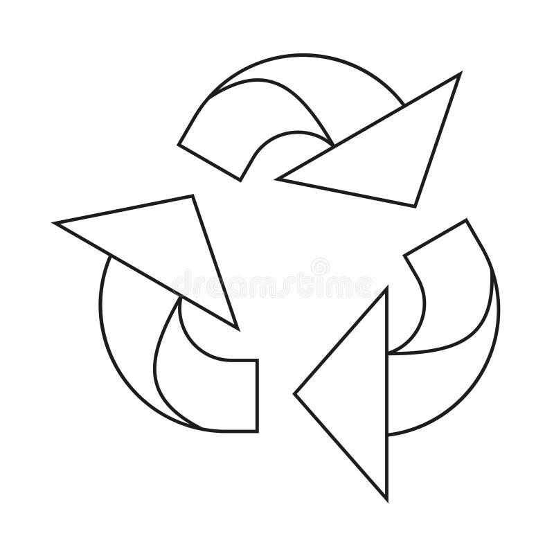 Het zwart-witte kringloopteken van de lijnkunst stock illustratie
