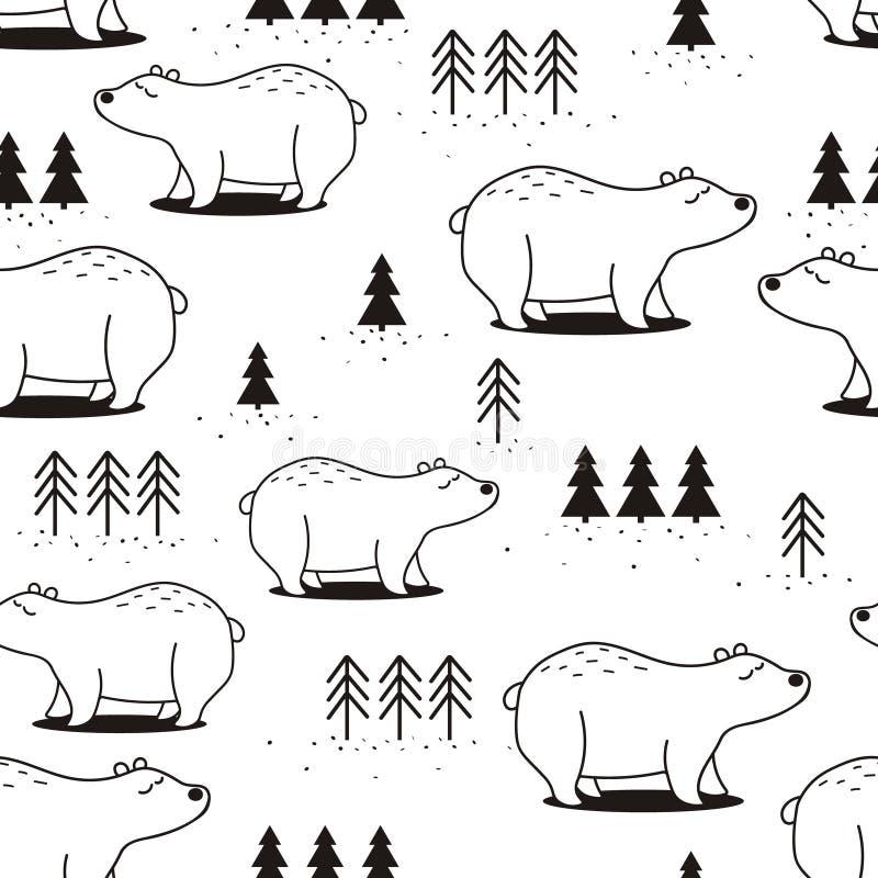 Het zwart-witte naadloze patroon, draagt en sparren vector illustratie