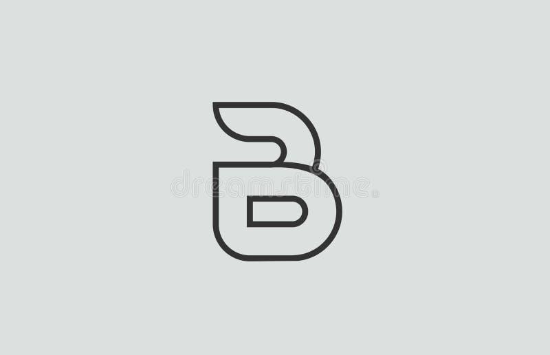 het zwart-witte ontwerp van het het embleempictogram van de alfabetbrief B royalty-vrije illustratie