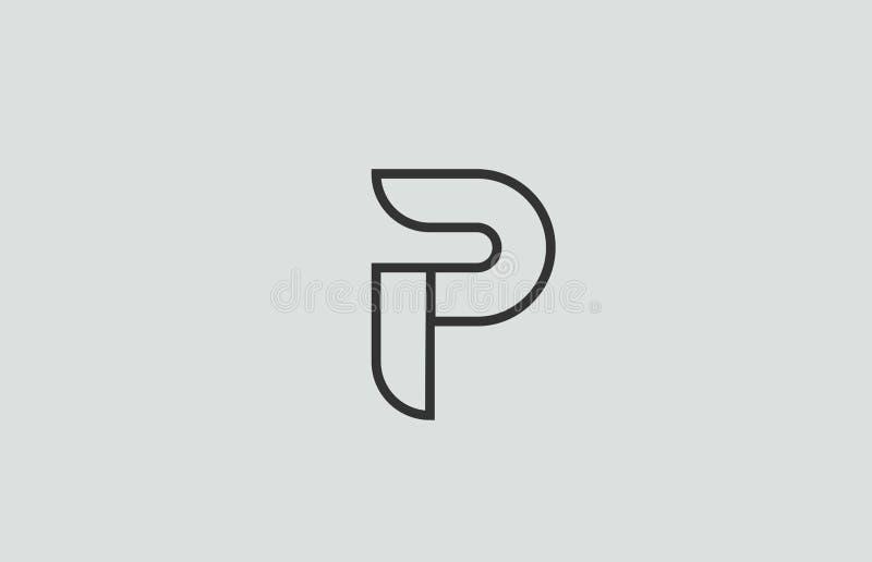 het zwart-witte ontwerp van het het embleempictogram van de alfabetbrief p vector illustratie
