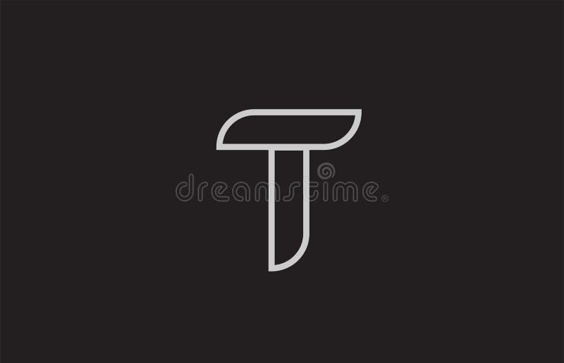 het zwart-witte ontwerp van het het embleempictogram van de alfabetbrief t stock illustratie