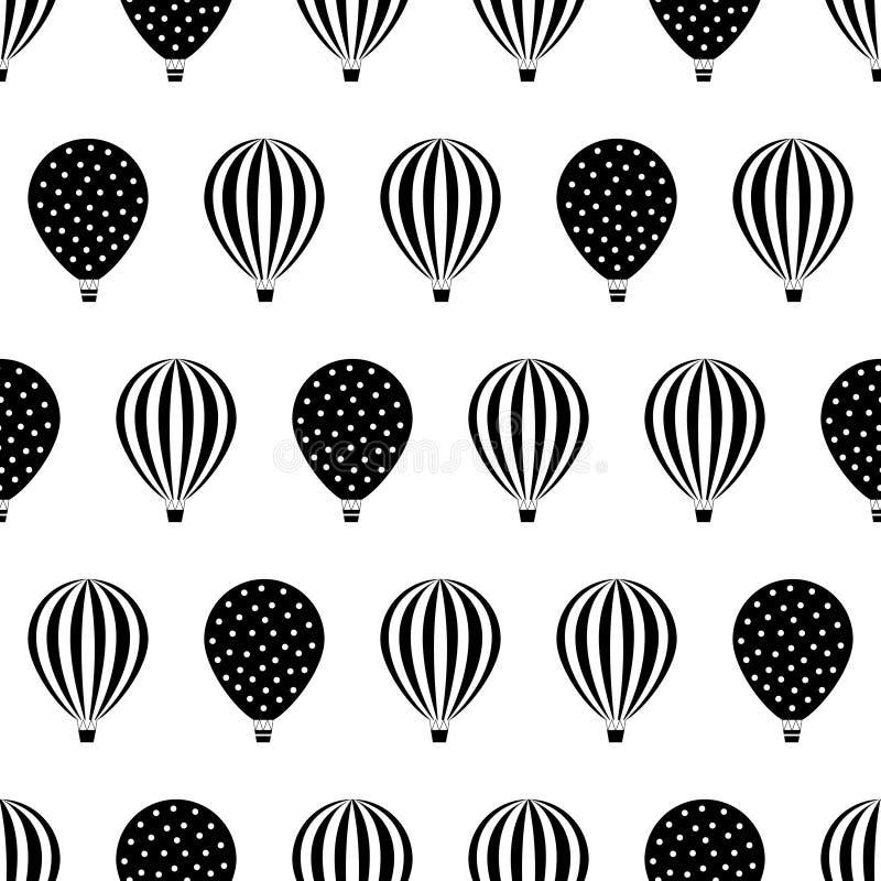 Het zwart-witte ontwerp van hete luchtballons vector illustratie