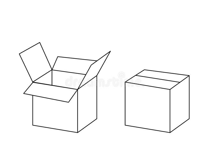 Het zwart-witte open en gesloten pakket van de kartondoos, vector royalty-vrije illustratie