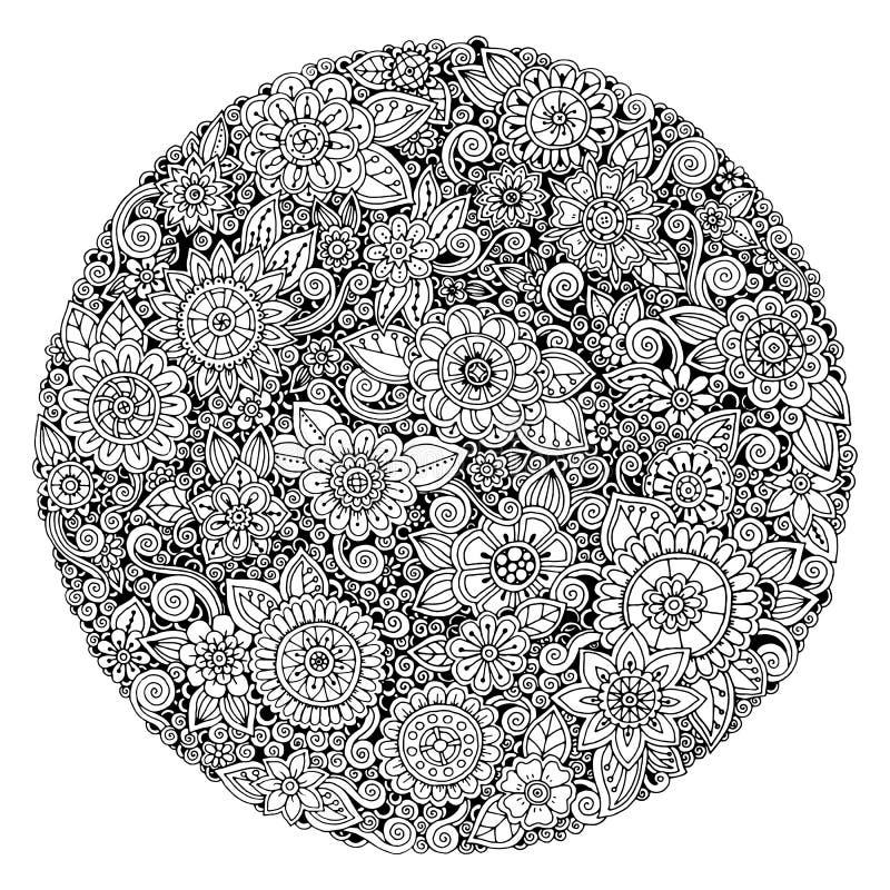 Het zwart-witte ornament van de cirkelbloem, sier rond kantontwerp Bloemenmandala royalty-vrije illustratie