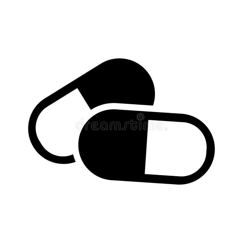 Het zwart-witte pictogram van capsulespillen Vector vector illustratie