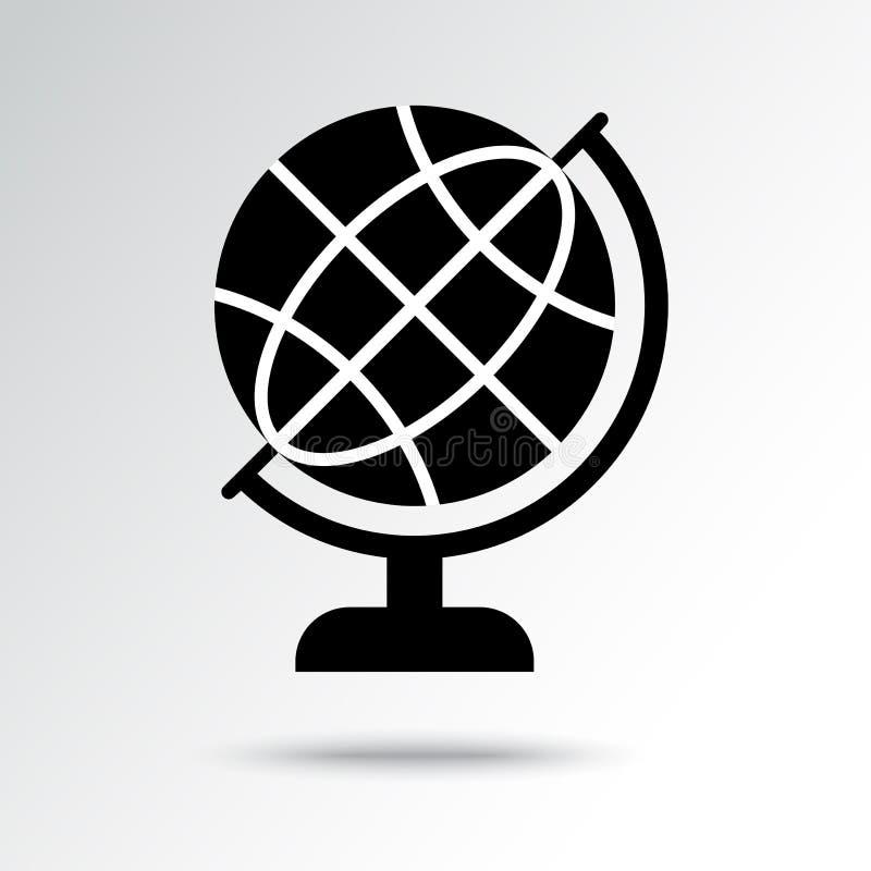 Het zwart-witte pictogram van de wereldbol Vector illustratie royalty-vrije illustratie
