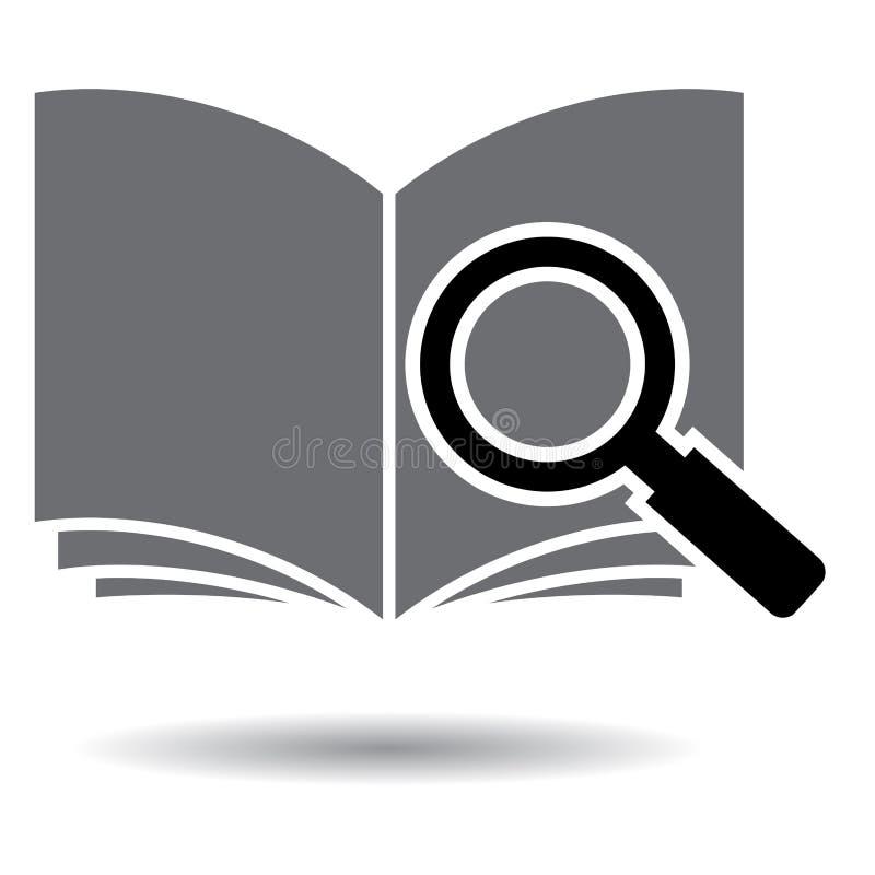 Het zwart-witte pictogram van het onderzoeksboek pdf royalty-vrije illustratie