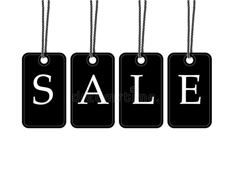 Het zwart-witte prijskaartje hangt van verkoop vectoril van het kabel de grote teken stock illustratie