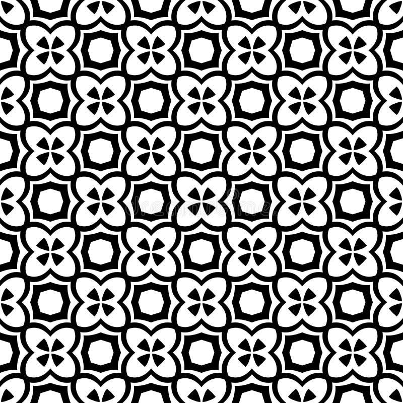 Het zwart-witte vector abstracte naadloze patroon met net, diamantvormen, sterren, ruiten, rooster, herhaalt tegels vector illustratie