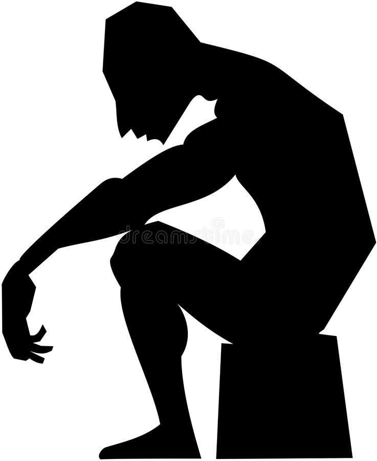 Het zwart-witte vector de mensenzitting van het beeldsilhouet rusten vector illustratie