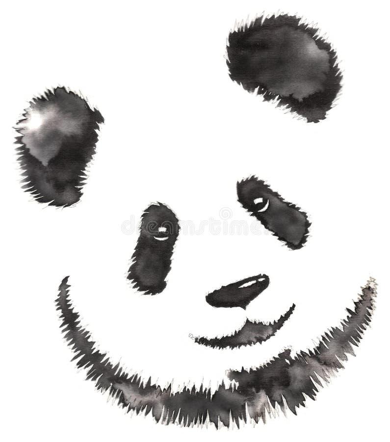 Het zwart-witte zwart-wit schilderen met water en de inkt trekken pandaillustratie vector illustratie