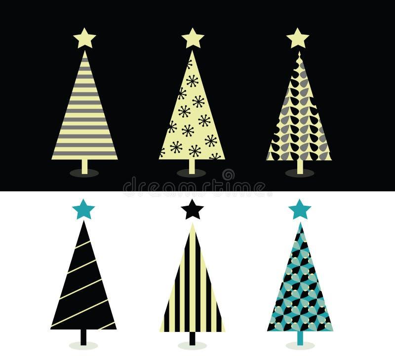 Het zwarte & witte ontwerp van de Kerstmisboom stock illustratie