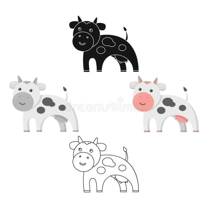 Het zwarte beeldverhaal van het koepictogram, Enige bio, eco, biologisch productpictogram van het grote zwarte melkbeeldverhaal, stock illustratie