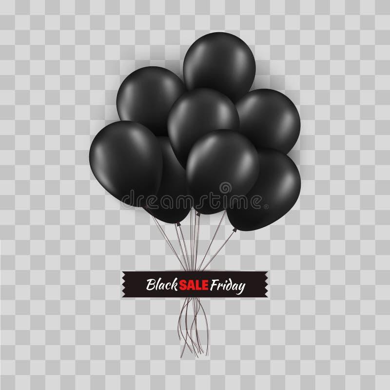 Het zwarte concept van vrijdagpromo Bos van zwarte die ballons met koorden met zwarte band op transparante achtergrond worden gel royalty-vrije illustratie