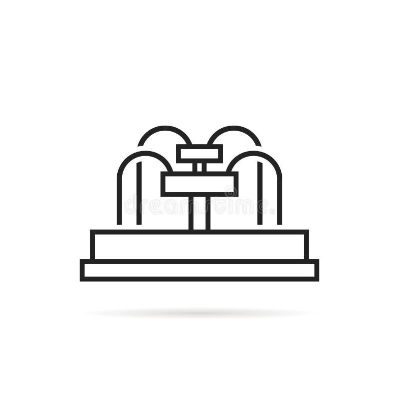 Het zwarte dunne die pictogram van de lijnfontein op wit wordt geïsoleerd stock illustratie