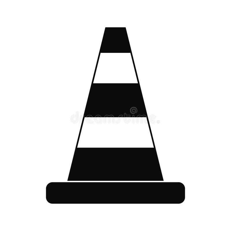 Het zwarte eenvoudige pictogram van het kegelverkeer stock illustratie