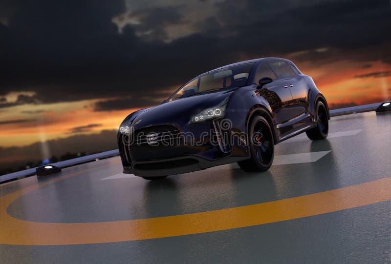 Het zwarte elektrische SUV-parkeren op de helihaven stock illustratie