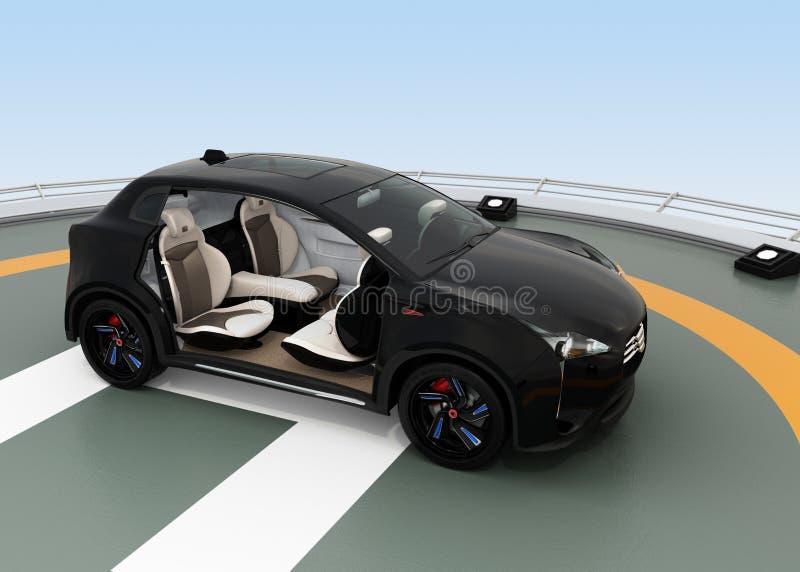 Het zwarte elektrische SUV-parkeren op de helihaven vector illustratie