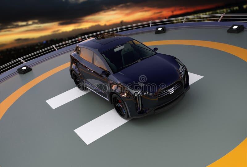 Het zwarte elektrische SUV-parkeren op de helihaven royalty-vrije illustratie