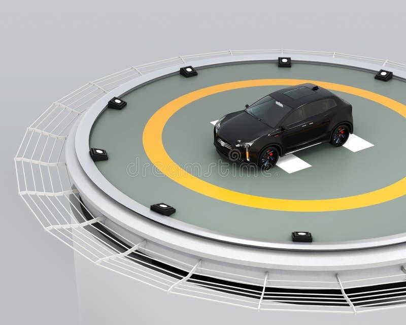 Het zwarte elektrische SUV-parkeren op de helihaven bij de bouw royalty-vrije illustratie