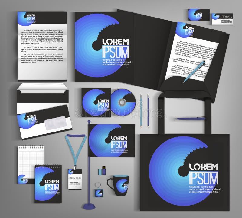 Het zwarte en blauwe in collectieve ontwerp van het identiteitsmalplaatje royalty-vrije illustratie