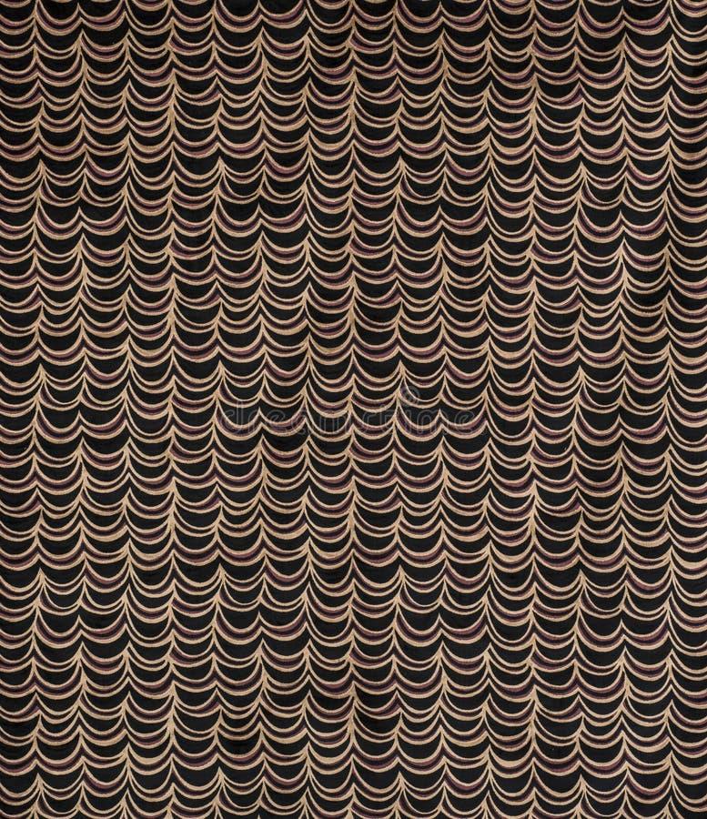 Het zwarte en Bruine Gordijn of Golvenmonster van het Patroonbehang stock foto's