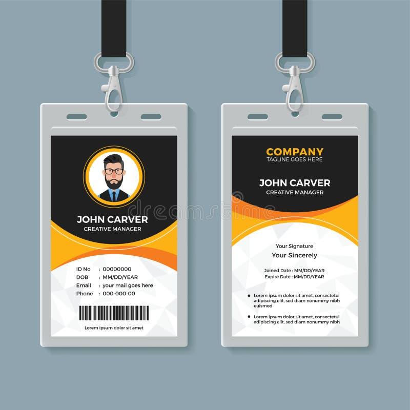 Het zwarte en Gele Malplaatje van het Bureauidentiteitskaart royalty-vrije illustratie