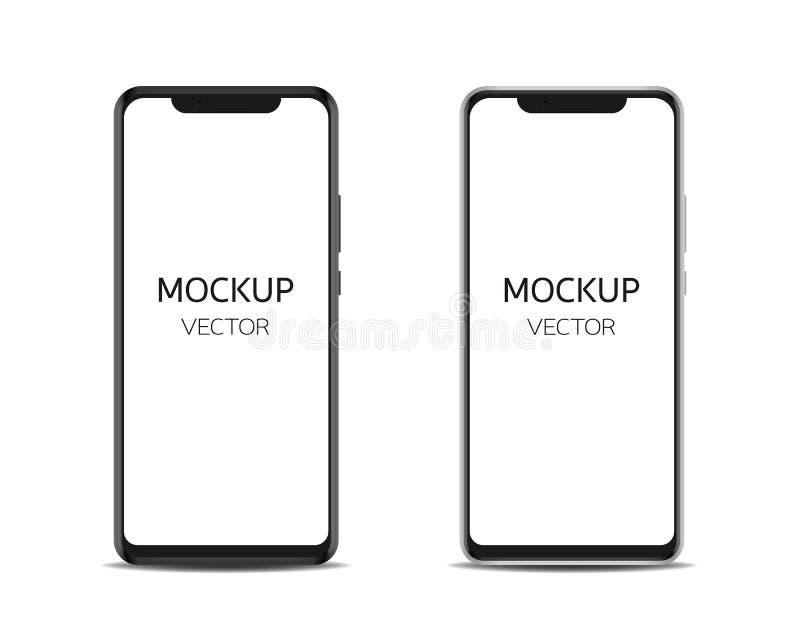 Het zwarte en zilveren smartphonemodel isoleert op witte achtergrond royalty-vrije illustratie