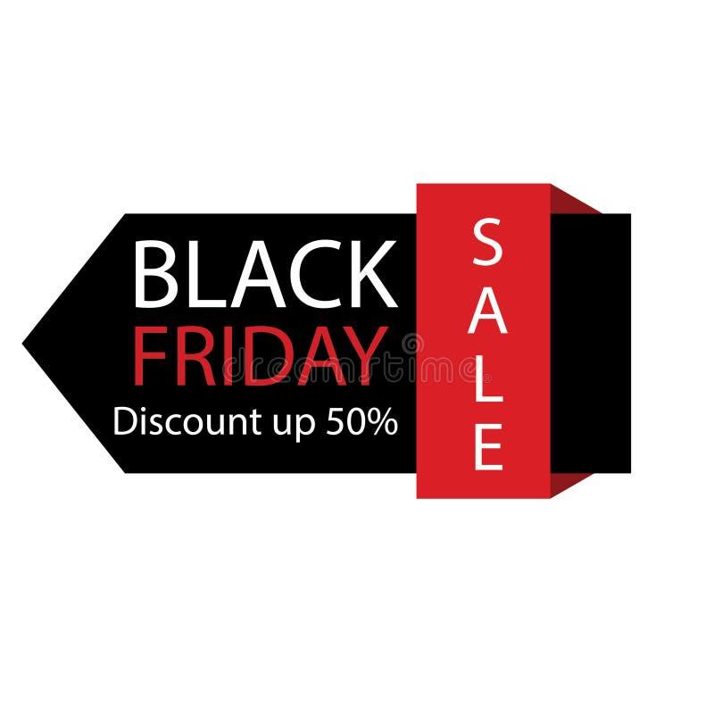 Het zwarte etiket van de vrijdagverkoop Vectoradvertentieillustratie E stock illustratie