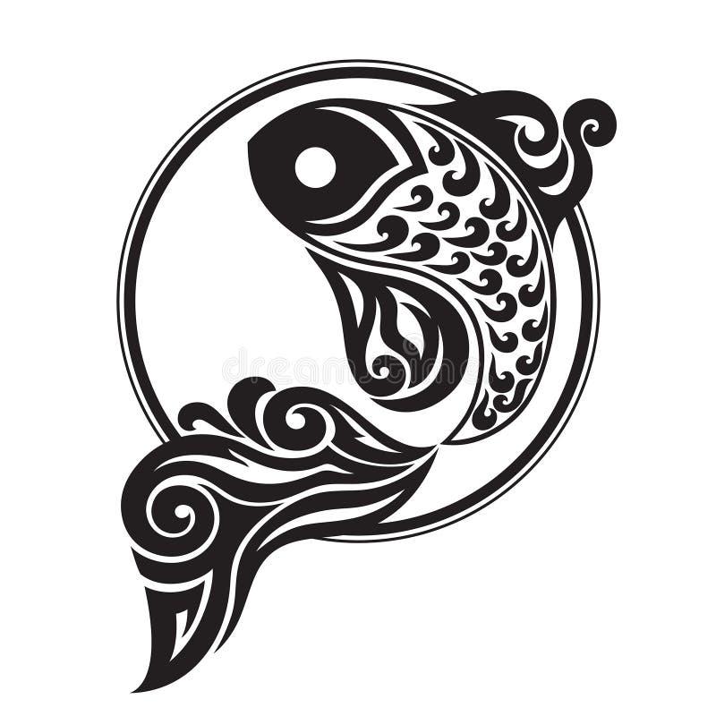 Het zwarte grafisch trekken van een vis royalty-vrije stock afbeeldingen