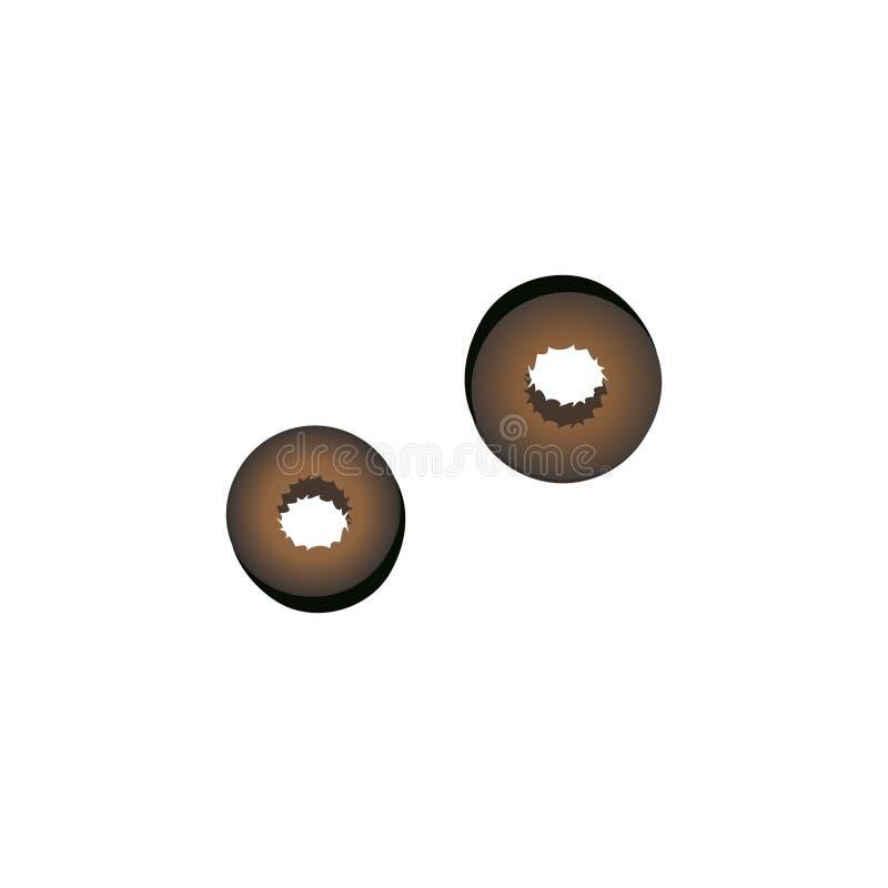 Het zwarte Griekse pictogram van olijvenplakken Vers pizzaingrediënt vector illustratie