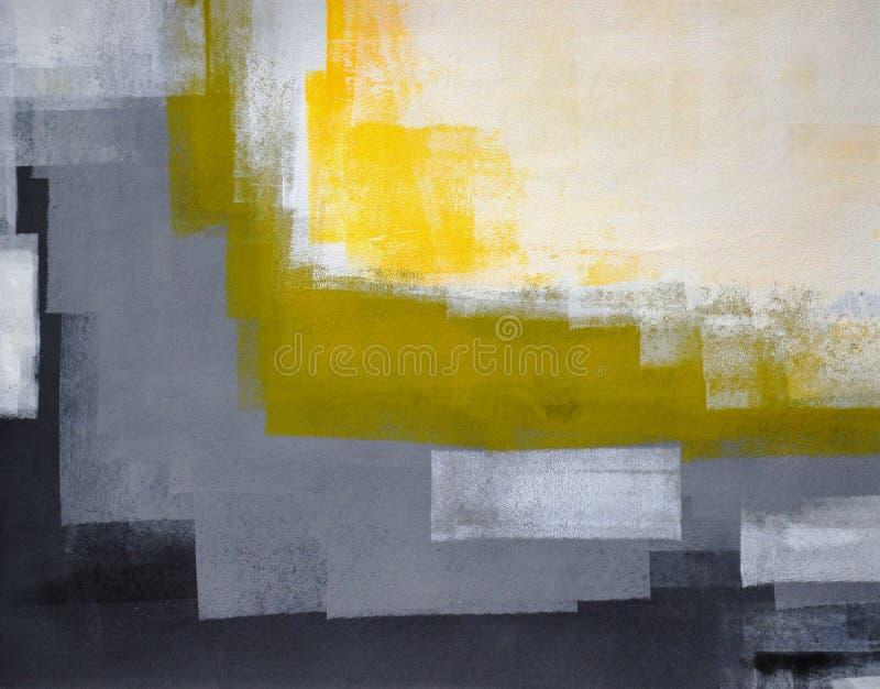 Het zwarte, Grijze en Gele Abstracte Schilderen van de Kunst stock foto's