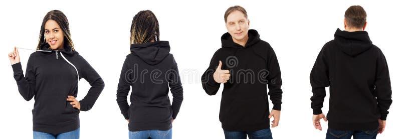 Het zwarte in hoodiemodel, mens in lege kap voor en achtermening die over wit wordt geïsoleerd, hoodie plaatste vrouwelijk en man royalty-vrije stock fotografie