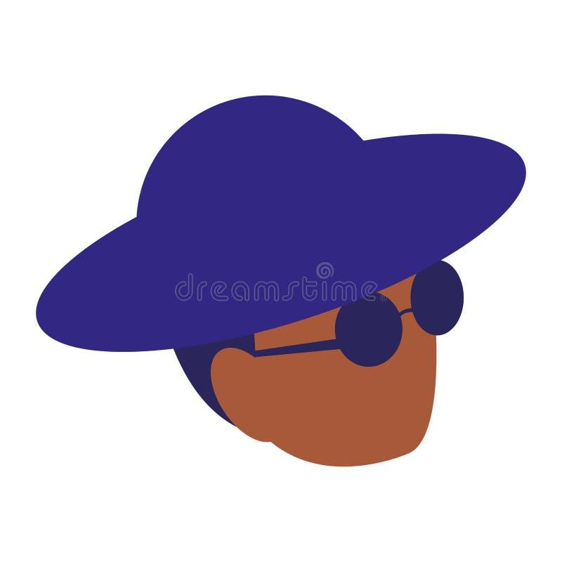 Het zwarte hoofd van de musicusjazz met hoed en zonnebril vector illustratie