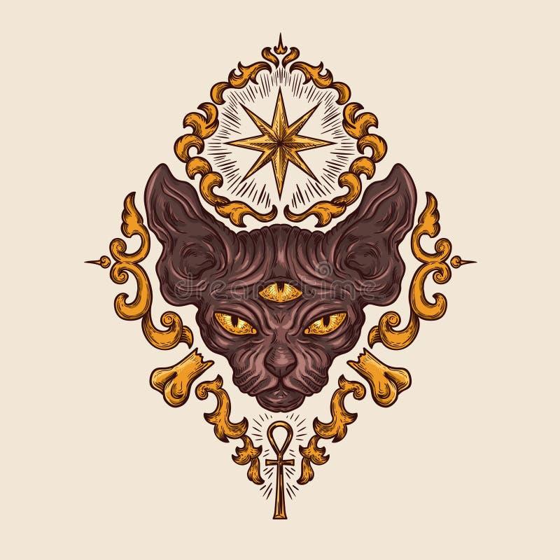 Het zwarte hoofd van de sfinxkat met geheimzinnige blikvector vector illustratie
