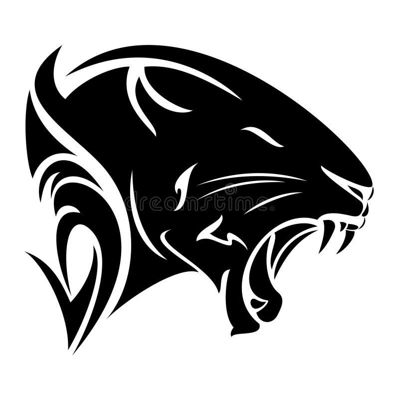 Het zwarte hoofd vectorontwerp van het panterprofiel royalty-vrije illustratie