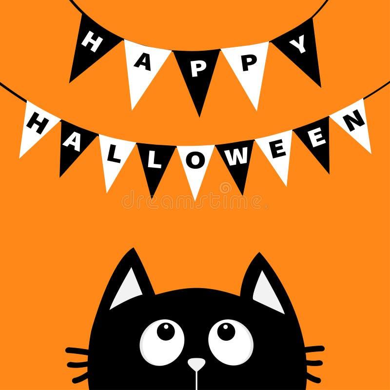 Het zwarte hoofdsilhouet die van het kattengezicht omhoog aan Bunting kijken markeert brieven Gelukkig Halloween Vlagslinger Het  vector illustratie