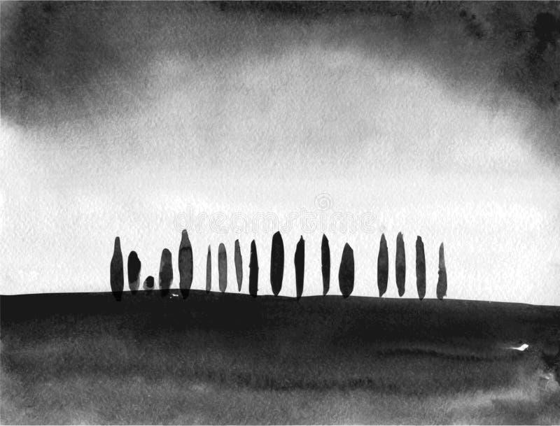 Het zwarte inktwas schilderen van bomen op gebied op witte achtergrond Traditionele Japanse inkt die sumi-e schilderen stock illustratie