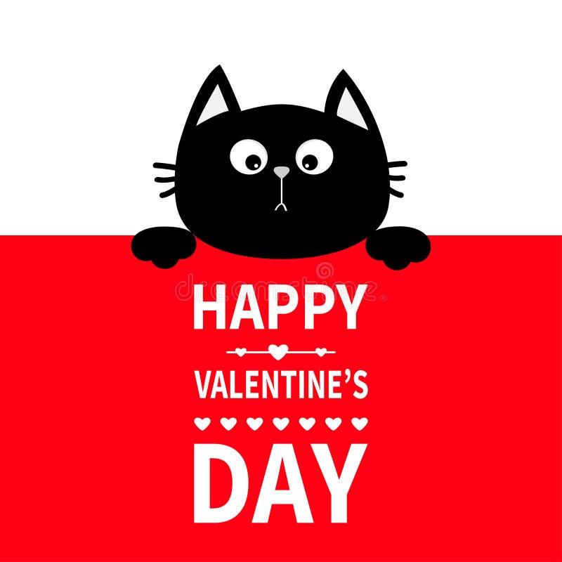 Het zwarte kat hangen aan boord van uithangbord Het leuke de pot van het beeldverhaal grappige katje verbergen achter document Ge vector illustratie