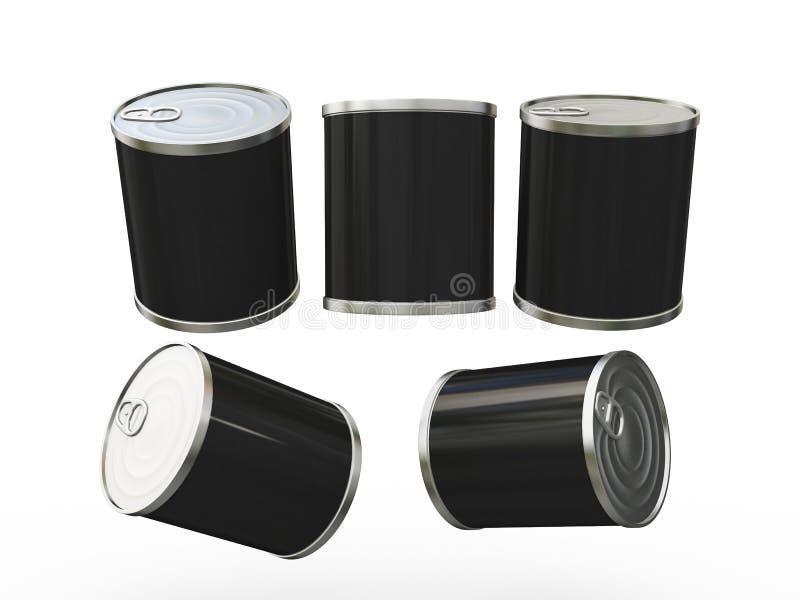 Het zwarte lege etiketvoedsel kan met trekkracht van labels voorzien, knippend inbegrepen weg royalty-vrije illustratie