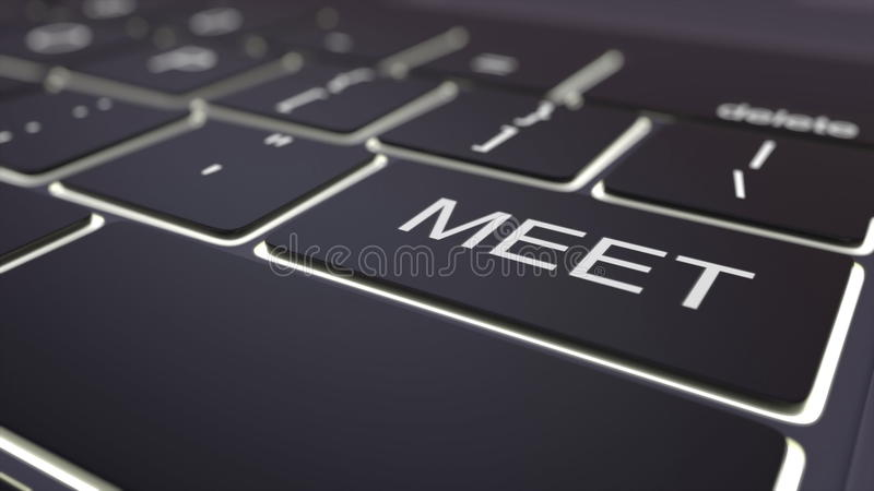 Het zwarte lichtgevende computertoetsenbord en ontmoet sleutel Het conceptuele 3d teruggeven royalty-vrije illustratie