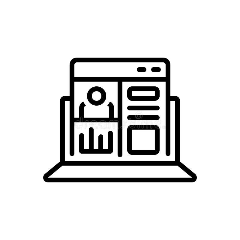 Het zwarte lijnpictogram voor Admin-Comité, vormt en voorkeur vector illustratie