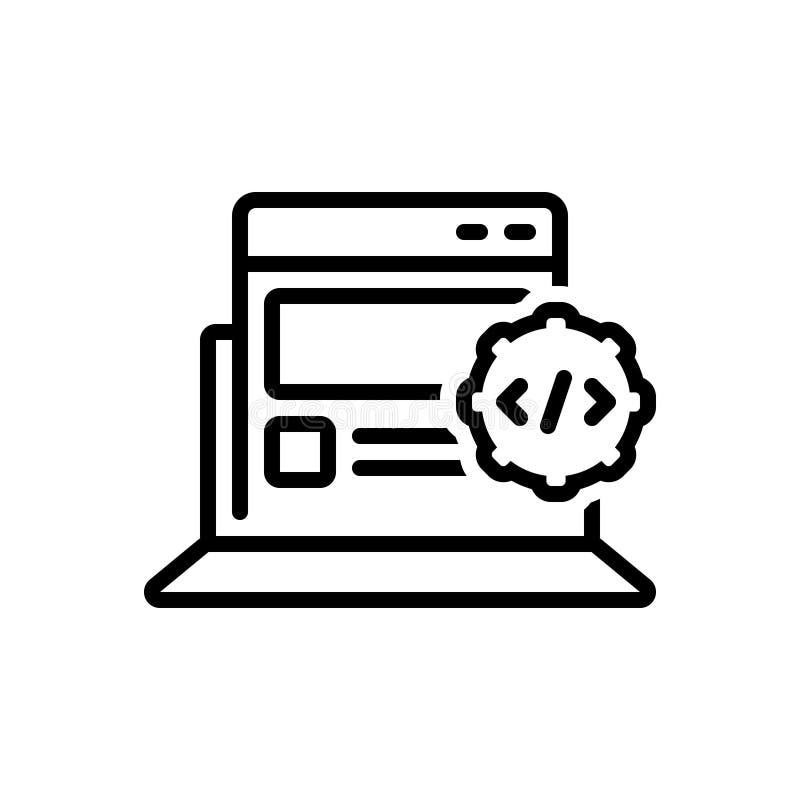 Het zwarte lijnpictogram voor Apps ontwikkelt zich, optimalisering en HTML vector illustratie