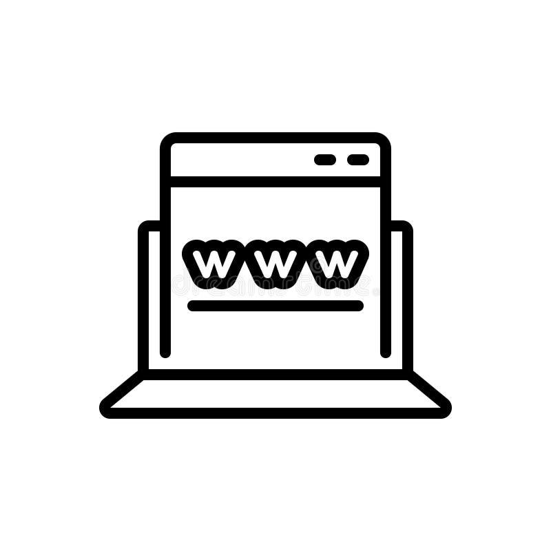 Het zwarte lijnpictogram voor Browser, optimalisering en apps ontwikkelt zich royalty-vrije illustratie
