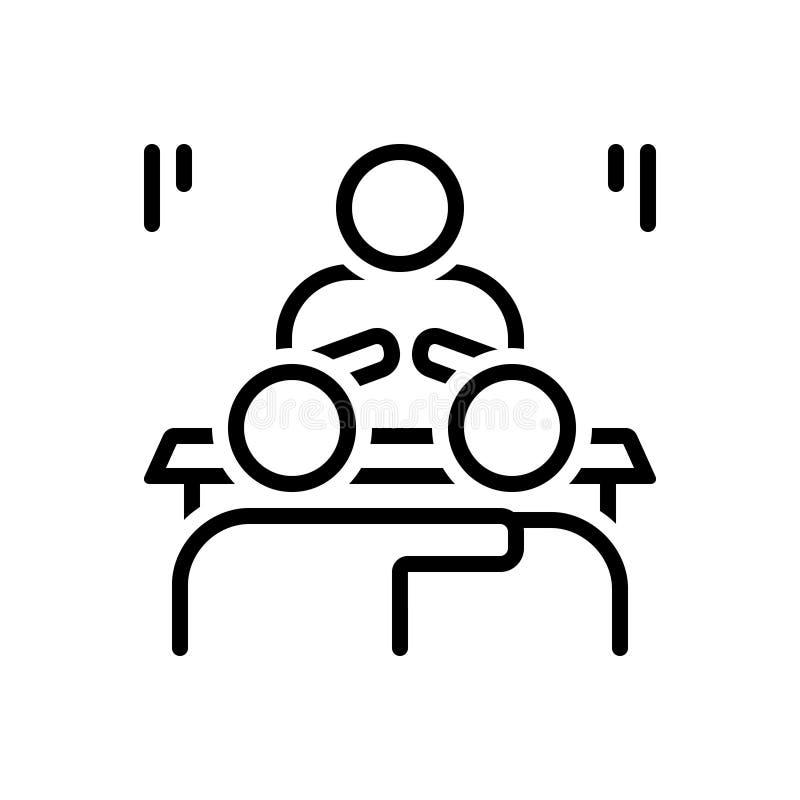 Het zwarte lijnpictogram voor Convince, verklaart en decodeert royalty-vrije illustratie