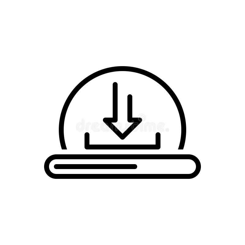 Het zwarte lijnpictogram voor Download, automatiseert en initialiseert stock illustratie