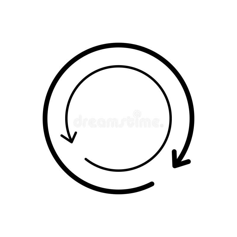 Het zwarte lijnpictogram voor Herladen, toepassing en verfrist zich stock illustratie